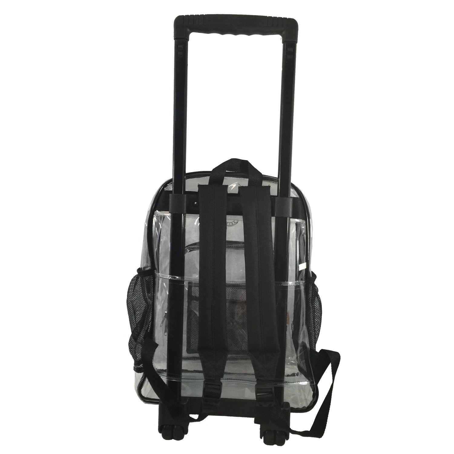 Rolling Clear Backpack Heavy Duty Bookbag Quality See Through Workbag Travel Daypack Transparent School Book Bags with Wheels Black by K-Cliffs (Image #4)