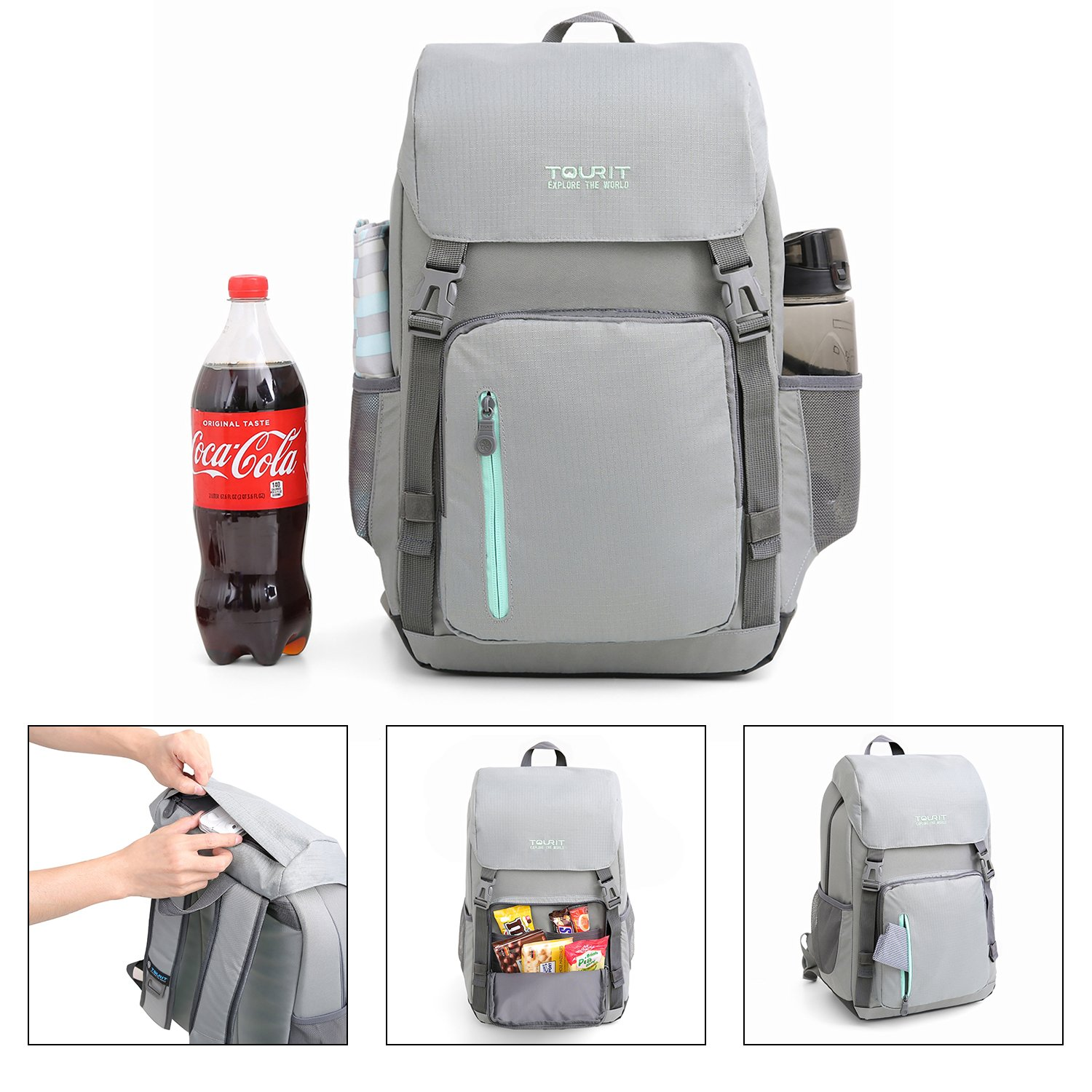 5ac0ce7bf4 TOURIT Hiking Backpack with Cooler 25L Lightweight Cool Bag Rucksack with  Bottle Opener for Camping Picnics ...