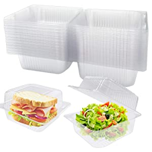 50Pcs Clear Plastic Square Hinged Food Containers,Clamshell Takeout Tray,Disposable Dessert Container for Salads,Sandwiches,Pasta,Chips,Hamburgers,5x4.7x2.8 Inch
