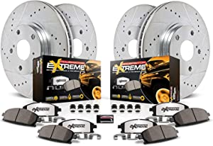 Power Stop K6405-36 Front and Rear Z36 Truck & Tow Brake Kit, Carbon Fiber Ceramic Brake Pads and Drilled/Slotted Brake Rotors