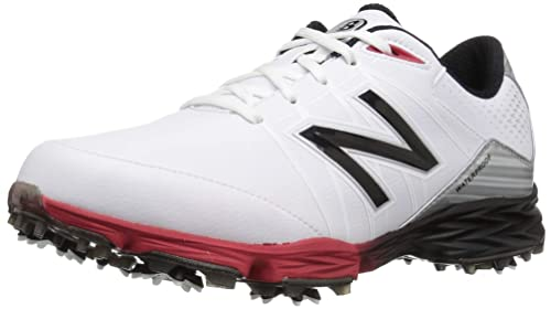 a6c2c765b46e7 New Balance Men's NBG2004 Waterproof Spiked Comfort Golf Shoe, White/Red,  ...