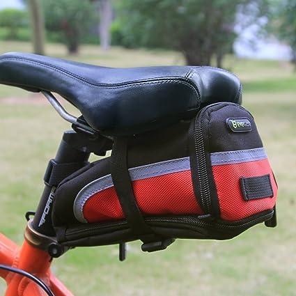 evecase Bolsa para Sillín de Bicicleta, Alforja para Sillín, Negro y Rojo, Grande: Amazon.es: Electrónica