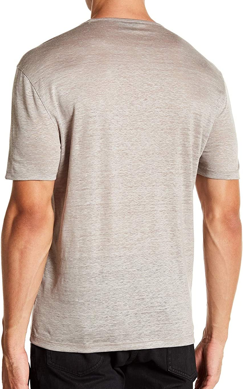 John Varvatos Collection Mens Short Sleeve Linen Crew Tee Shirt