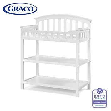 Multi Open Storage Nursery Changing Table for Infants or Babies Espresso Graco Lauren Changing Table with Water-Resistant Change Pad and Safety Strap