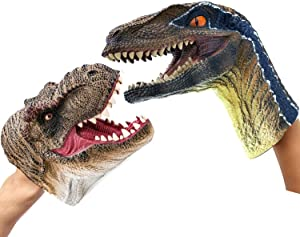 Gemini&Genius Tyrannosaurus & Velociraptor Hand Puppets Jurassic World and Marine Animal World Action Figure Set Funny & Scared Head Hand Puppets for Home, Stage and Class Role Play Toys