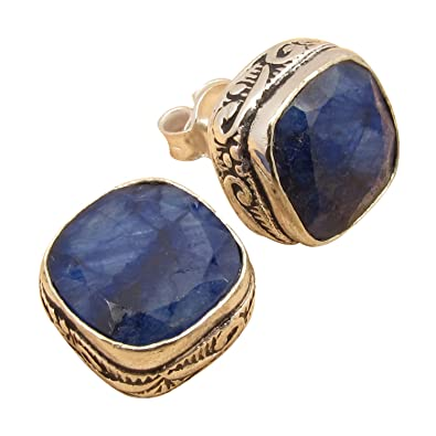 940fe25e7ed91 925 Sterling Silver Plated Real Blue SAPPHIRE Gem LITTLE LIGHTWEIGHT Stud  Earrings Discount Jewelry
