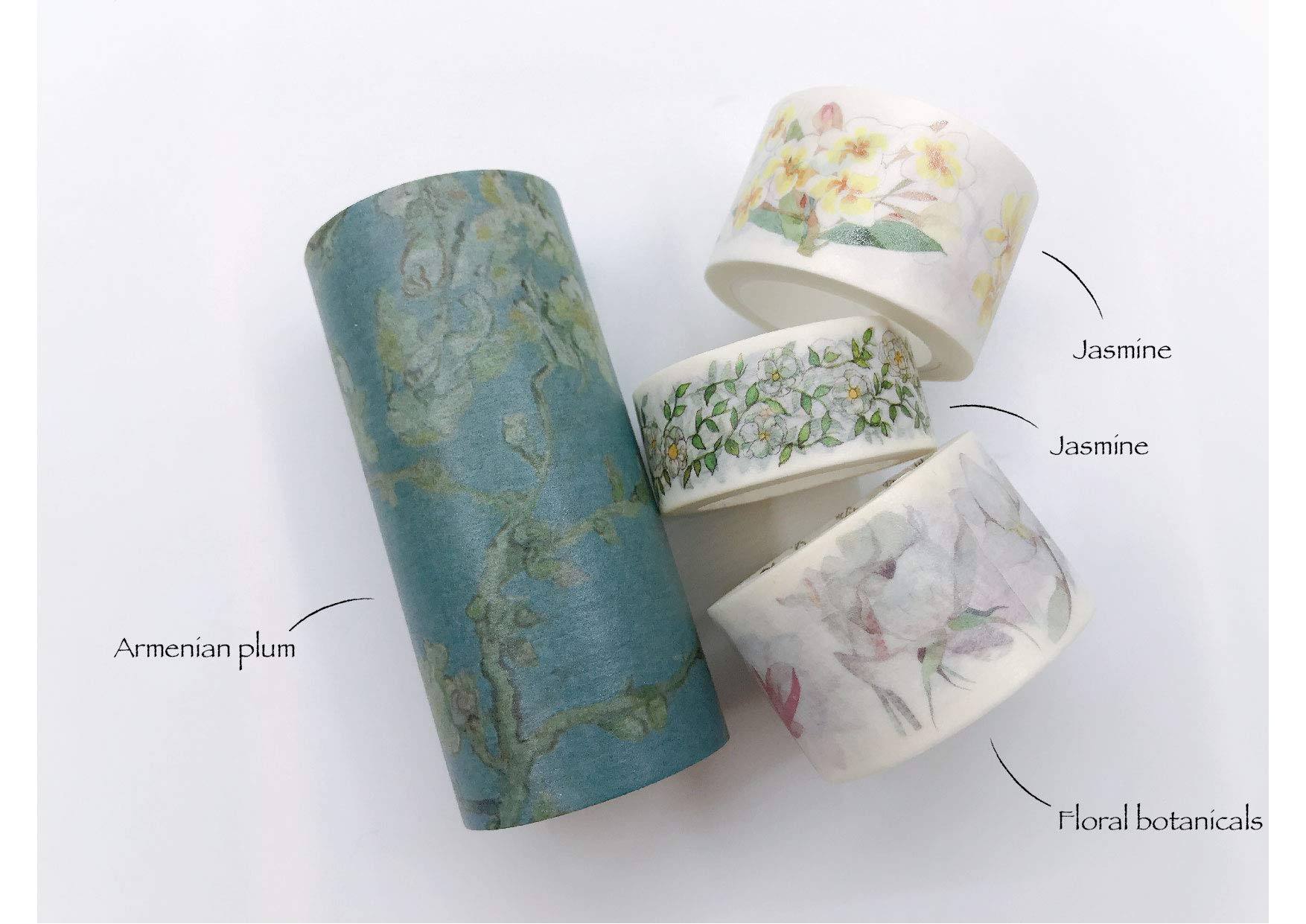 White Florals (Jasmine, Camellia and Armenian Plum) washi Tape Set of 4 Rolls- Including Extra Wide. Re-useable and Leaves no Residue. Crafts, DIY, scrapbooks, giftwrap, Walls