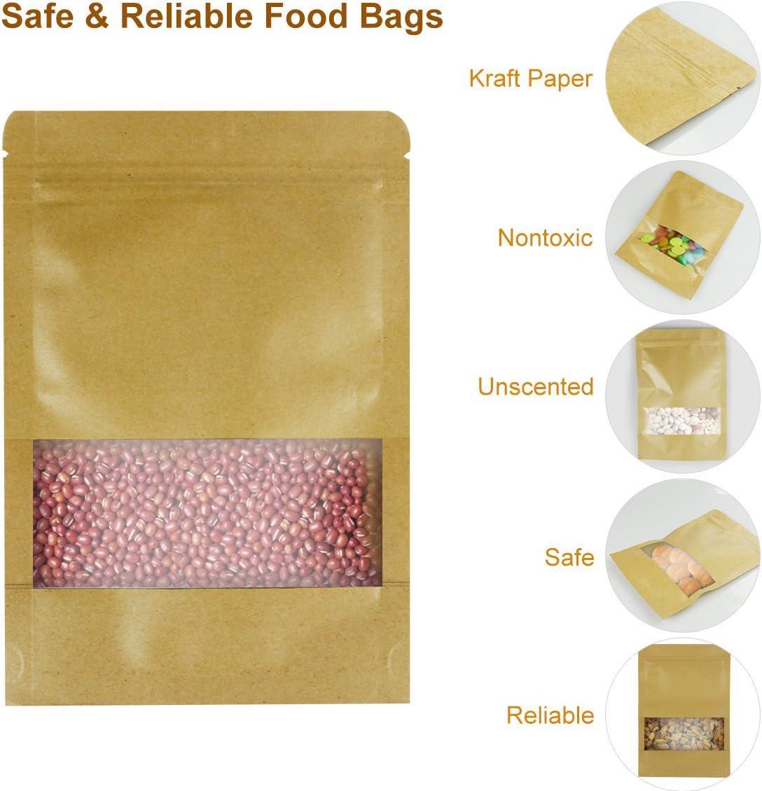 para t/é semillas y aperitivos 9 * 14 * 3cm frutos secos Paquete de 50 bolsas de papel Kraft con cierre herm/ético reutilizables para almacenamiento de alimentos con ventana caf/é jud/ías