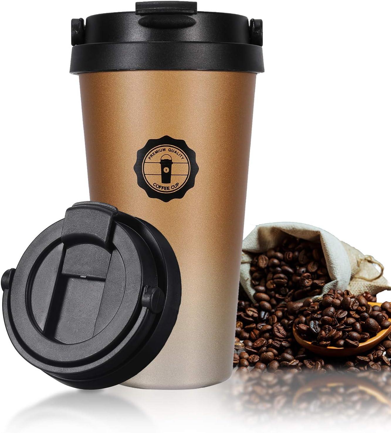 Jovego Termo Taza de Café, 500ml Vaso Termico de Viaje 100% a Prueba de Fugas, Taza de Acero Inoxidable para Beber con Aislamiento de Doble Pared, Tazas Cafe Reutilizable para Niños & Adultos(Oro)