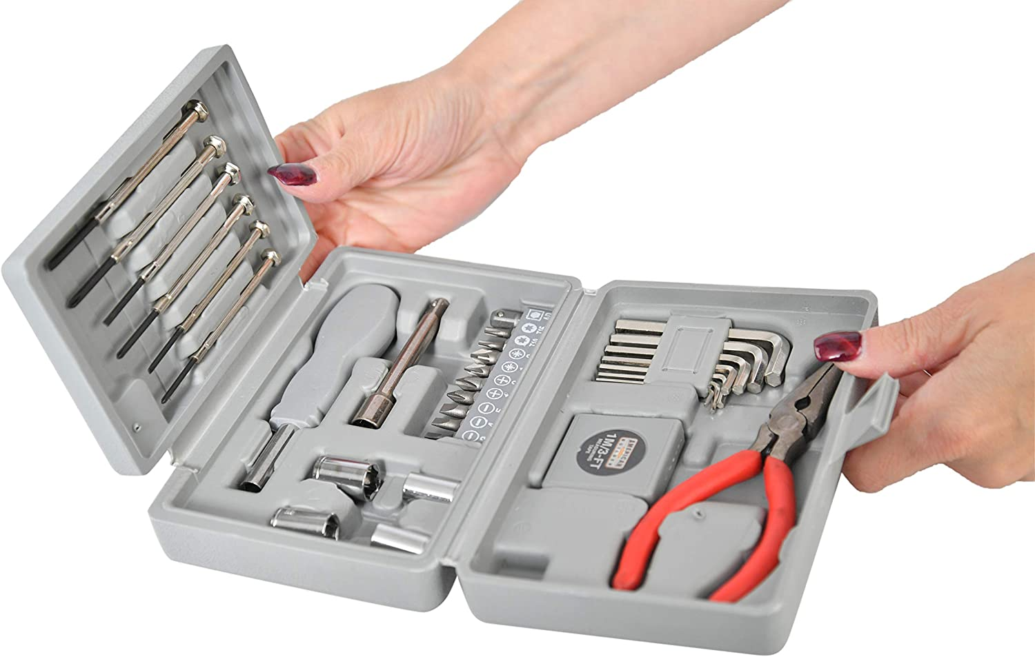 HOME-X Tri-Fold Tool Set 31 pc Kit with Socket//Allen Wrench and Precision Screwdrivers