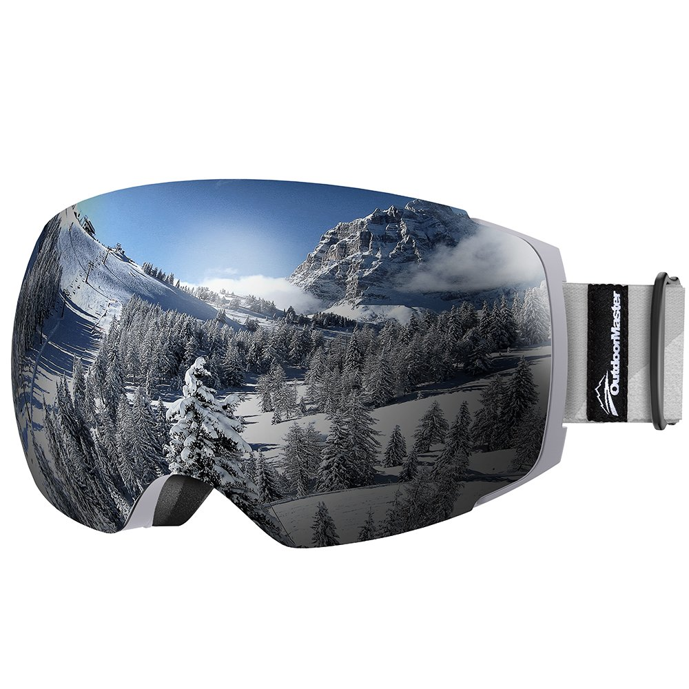 OutdoorMaster Ski Goggles PRO - Frameless, Interchangeable Lens 100% UV400 Protection Snow Goggles for Men & Women ( Grey Frame VLT 10% Grey Lens with Free Protective Case ) by OutdoorMaster