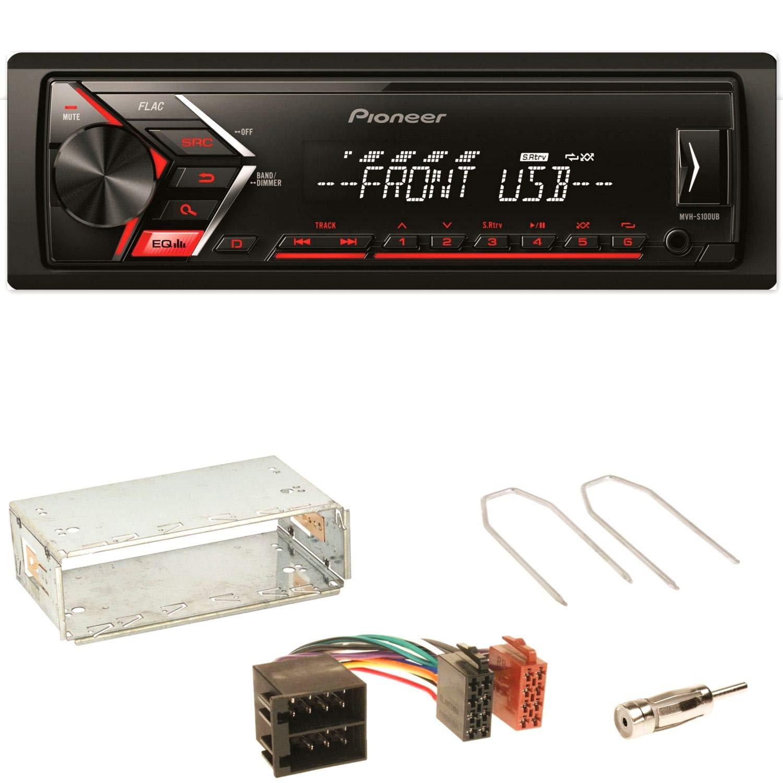 Pioneer MVH-S100UB Autoradio USB Aux 1-Din MP3 FLAC WMA Einbauset fü r Opel Astra F G Corsa B Zafira A ACR-Bad Hersfeld 97641