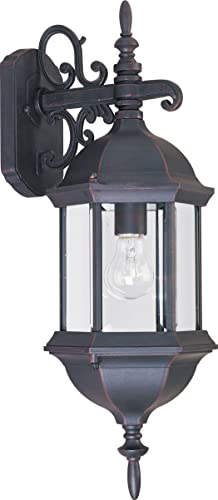 Maxim 1072CLEB Builder Cast Clear Glass Outdoor Mini Wall Sconce, 1-Light 60 Watt, 22 H x 8 W, Empire Bronze