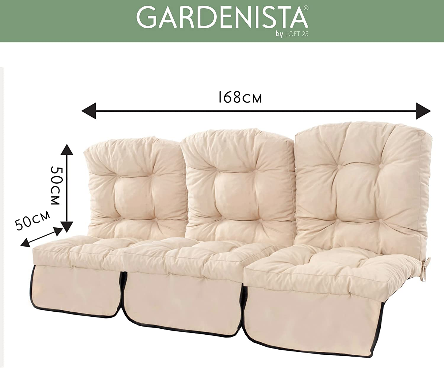 Green Made in the UK Tufted Cushions Collection Gardenista Outdoor Garden 3 Seater Swing Cushion in Water Resistant Fabric with Ties