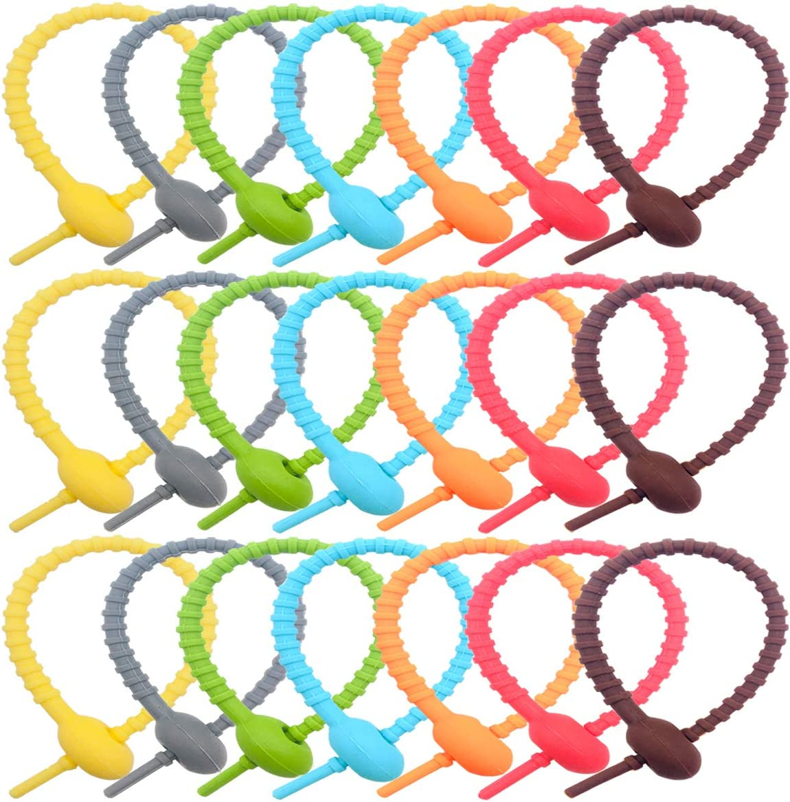 AYWFEY 21 Pieces Colorful Silicone Twist Ties,Cable Cord Wraps Management Organizer, All-Purpose Bag Sealing Clips,Reusable Bread Tie, Food Saver, Household Snake Straps,Wire Strips,21cm/8.26in