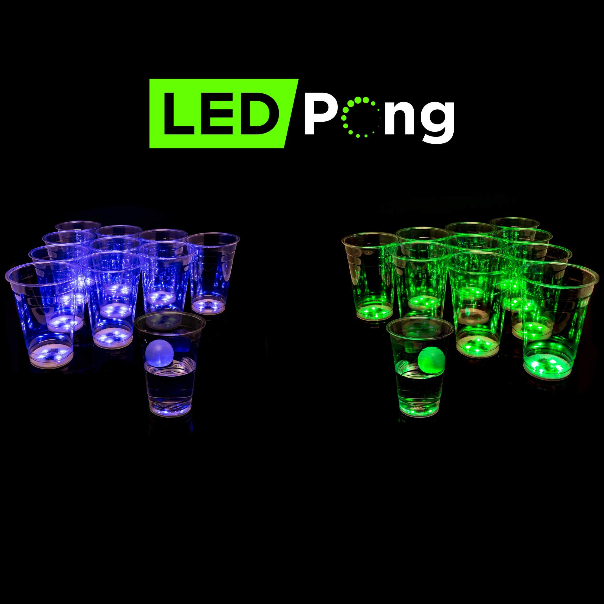 LED PONG Beer Pong Game Set Blue vs Green