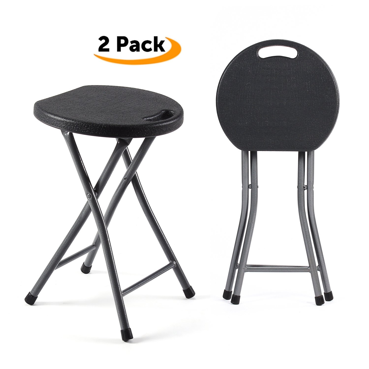 TAVR Folding Stool,Set of Two,Light Weight Metal and Plastic Folding Stool,400lb Capacity,2-Pack Black,CH1001