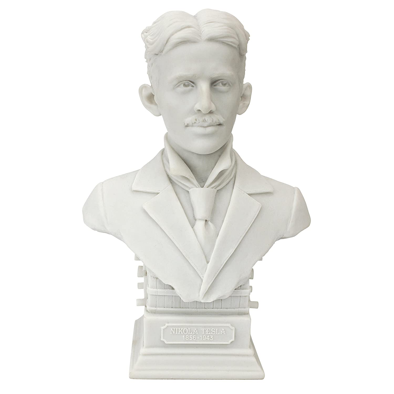 Design Toscano WU76914 Nikola Tesla (1856-1943) Bonded Marble Resin Sculptural Bust Nikola Tesla Bust