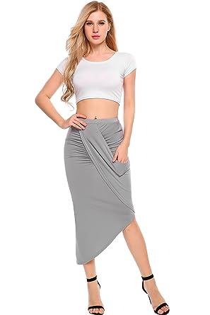 936bd77a263ea8 Zeagoo Women's High Waist Pleated Skirt Stretchy Irregular Slits Pencil  Skirt at Amazon Women's Clothing store:
