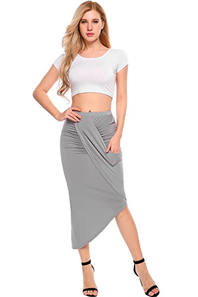 ff4efc846 Zeagoo Women's High Waist Pleated Skirt Stretchy Irregular Slits Pencil  Skirt
