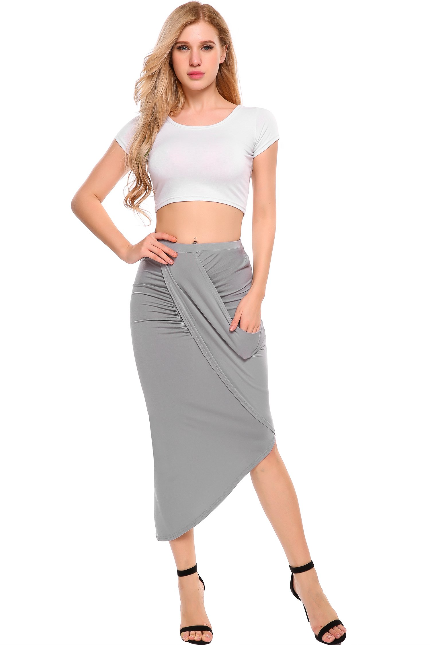 zeagoo Summer Breathable Drawstring Waist Cotton Solid Color Long Pencil Skirts For Women,Grey,Large