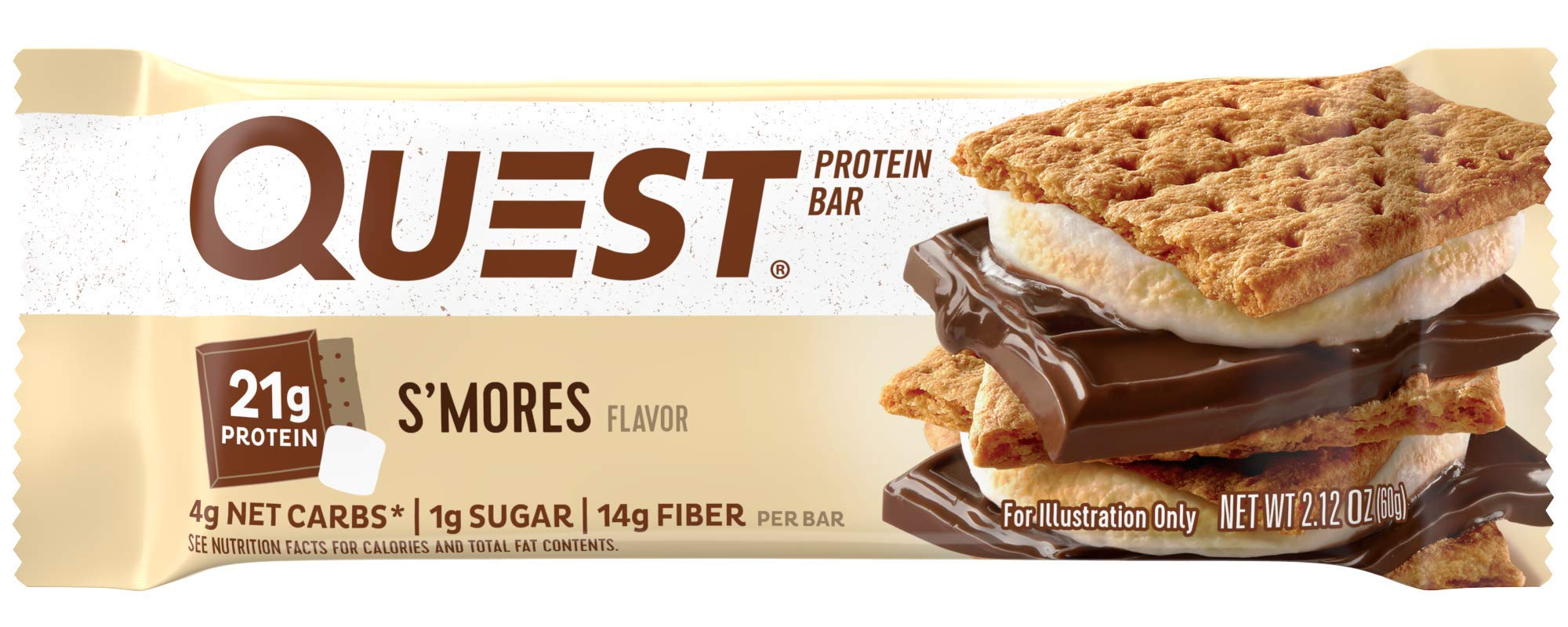 Quest Nutrition Protein Bar, S,mores, 20g Protein, 4g Net Carbs, 180 Cals, Low Carb, Gluten Free, Soy Free, 2.12oz Bar, 12 Count by Quest Nutrition
