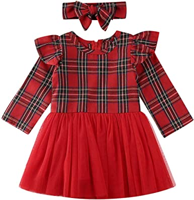 Toddler Kid Baby Girl Lace Plaids Romper Party Gown Tutu Dress Christmas Clothes