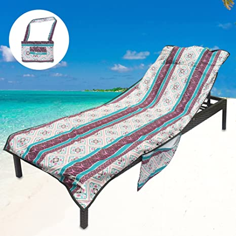YOULERBU Thickened Beach Chair Cover Towel, Swimming Pool Lounge Chair  Cover with Side Pockets Holidays Sunbathing Quick Drying Terry Towels  (Bohemia)