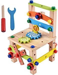 Ambility Build Your Chair Montessori Toys Building Toys Luban Chair Disassembly Toy Set Toys for Ages 3 4 5 6 7 8 9 10 Year Old Boys & Girls Kids, Fun Toys & Educational Toys for Kids Birthday Gift