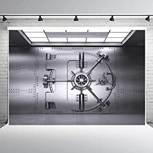 PHMOJEN Bank Vault Gate Photography Backdrop 10x7ft Security Design Front View Background Photo Booth Studio Props LYPH1202