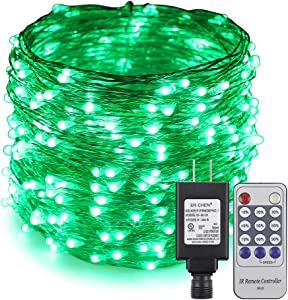 ErChen Adapter Powered Led Starry String Lights, 100FT 30M 300 Led Plug in Dimmable Remote Control Silver Copper Wire Fairy Lights for Wedding Christmas Party Home Decor (Green)
