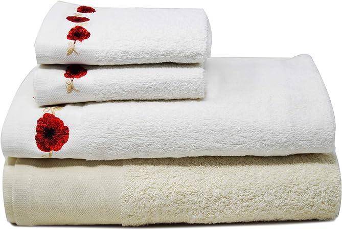 Towelogy® - Juego de 4 toallas de baño de rizo de algodón egipcio suave y absorbente. Conjunto de 4 toallas bordadas: 2 toallas de tocador, 1 toalla de lavabo y 1 toalla de baño: Amazon.es: Hogar