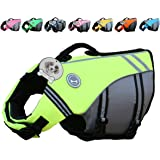 Vivaglory Sports Style Ripstop Dog Life Jacket with Superior Buoyancy & Rescue Handle, 5 Sizes & 7 Colors