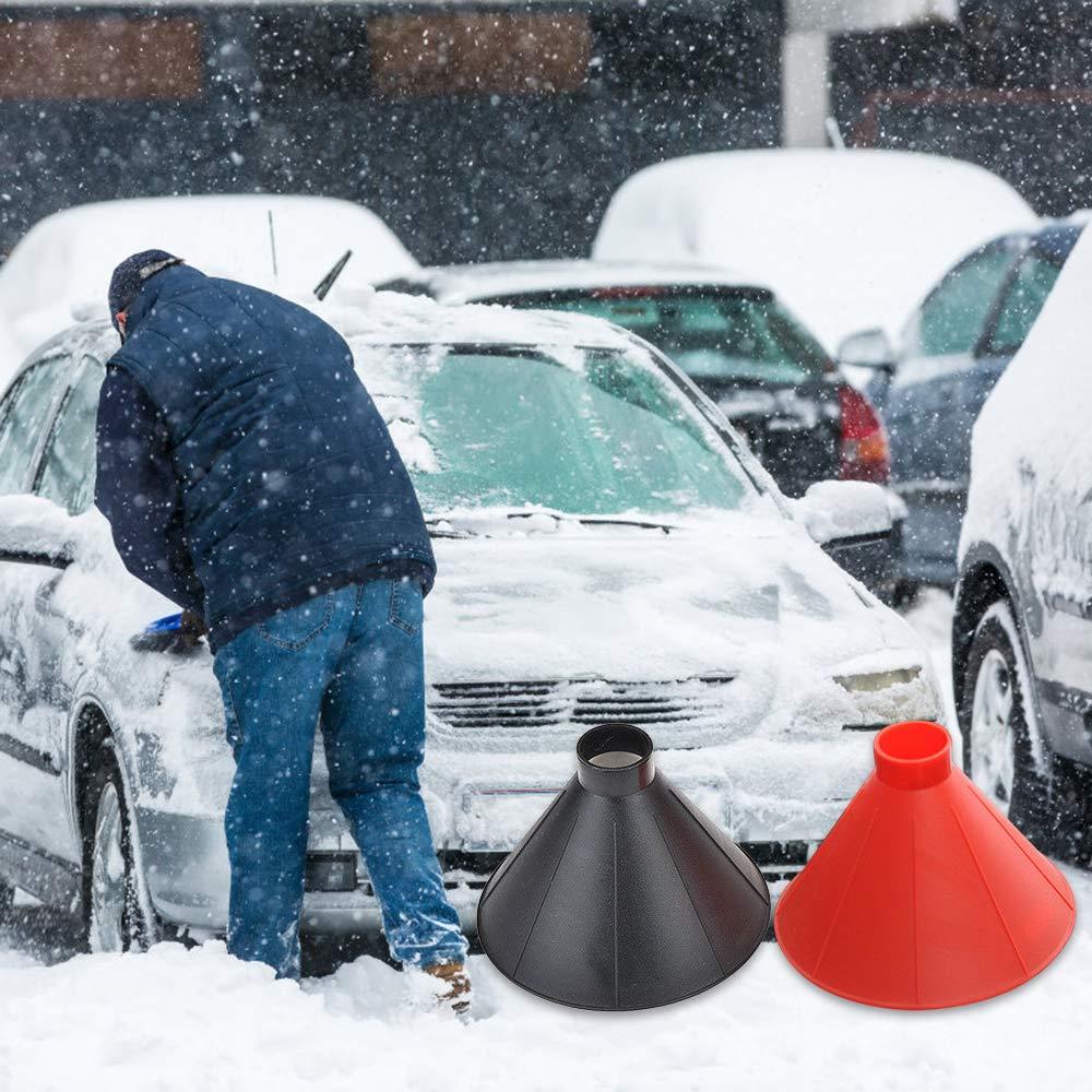 JKABCD Windshield Ice Remover Snow Brush Scraper Cone-Shaped Snow Remove Tool For Car window black Original