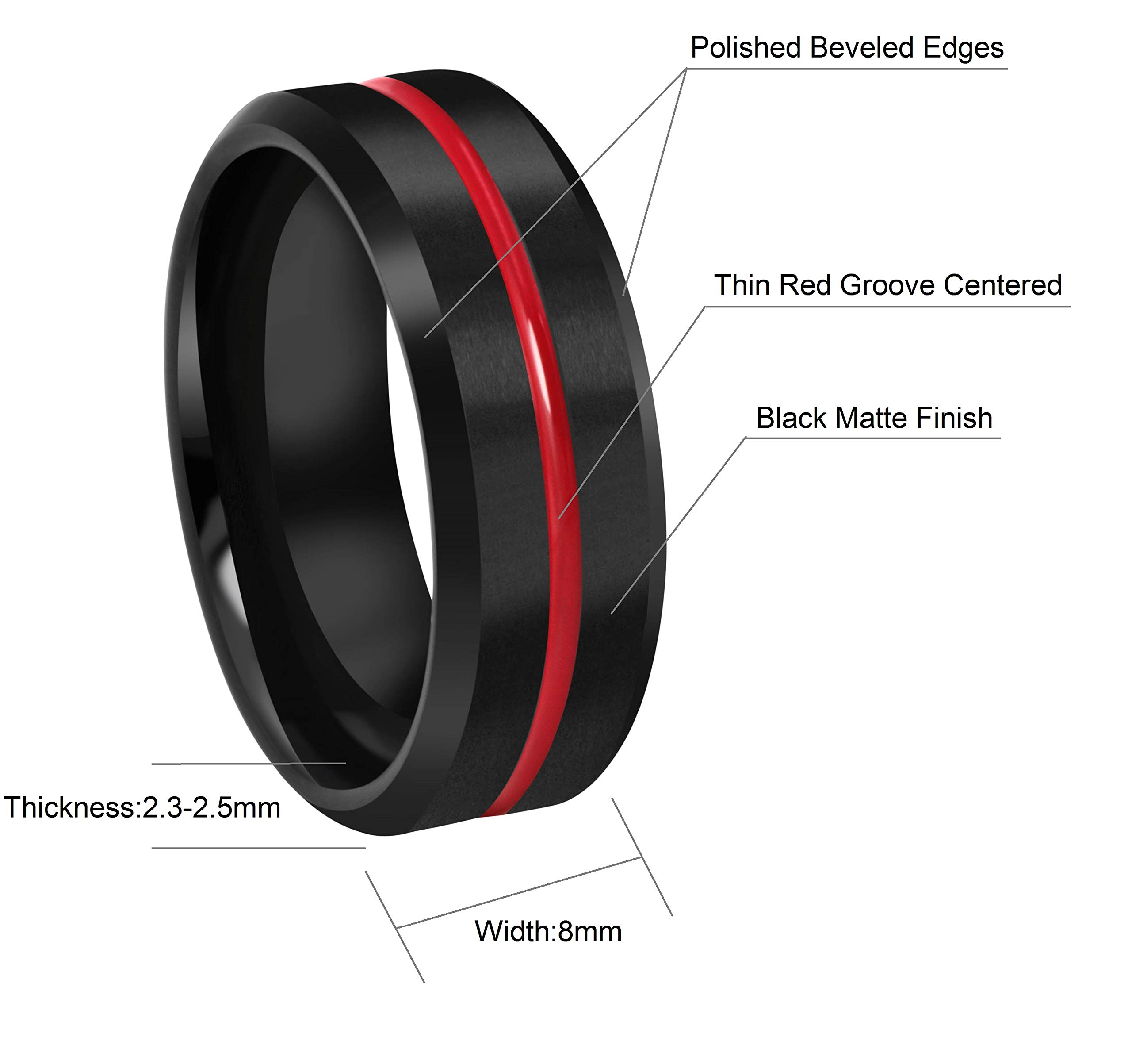 CROWNAL 8mm Thin Red Groove Black Brushed Tungsten Carbide Wedding Band Ring Comfort Fit Engraved I Love You Size 5 to 17 (8mm,16) by CROWNAL (Image #4)