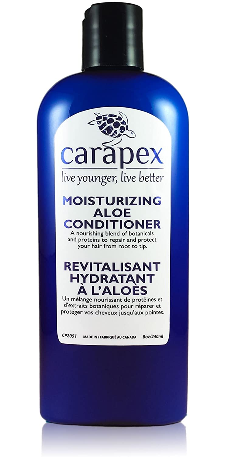Carapex Aloe Vera Moisturizing Conditioner, Repairs Color Treated Hair and Damaged Hair with Natural Proteins, Sulfate Free, Paraben Free, Silicon Free, Unscented, Promotes Hair Growth, for Sensitive Skin Frizzy Hair, Coarse Hair, Fine Hair 8 oz CP2051
