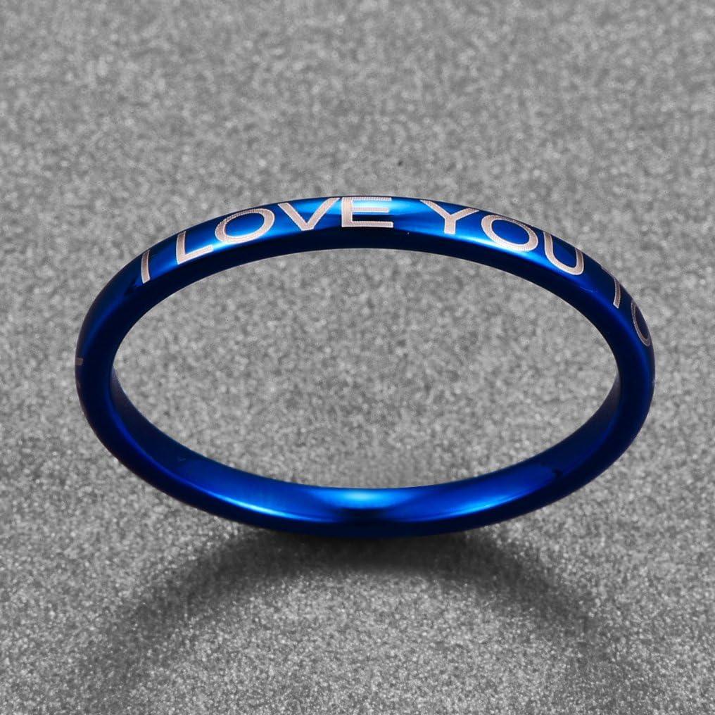 Parfait pour Mariage 14-27 Bague I Love U to The Moon and Back 2mm Bleu Nuncad Mode Tungstene Hommes//Femmes//Gar/çon//Fille Taille 54 /à 67 Engagement et Partenariat