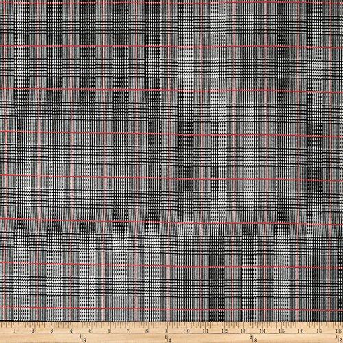 Fabric Plaid Glen (TELIO 0572572 Robin Poly Faille Glen Check Black/Red Fabric by The Yard)