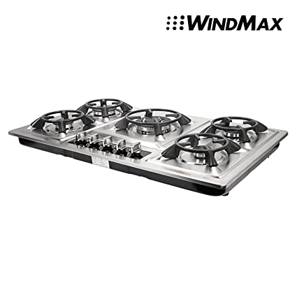 Amazon.com: Windmax 33.86 inch Acero Inoxidable 5 quemador ...