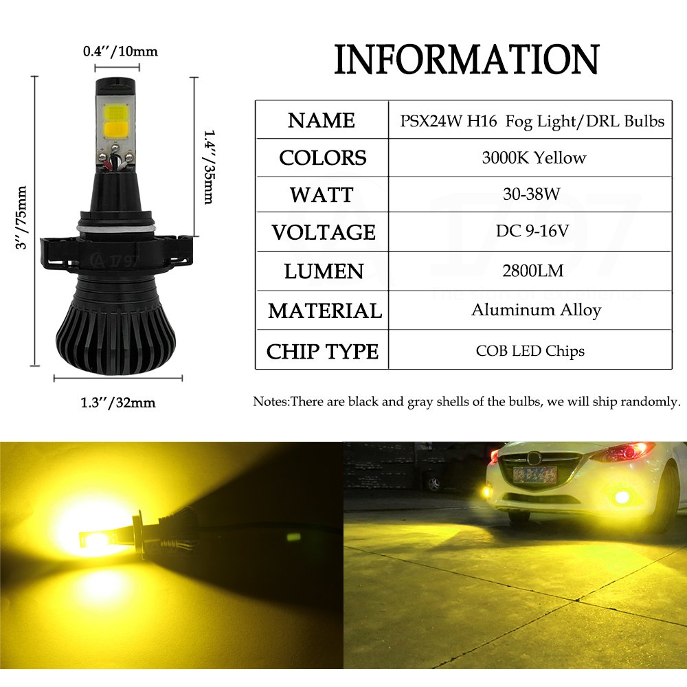 H11 H8 H16 JP LED Fog Lights Bulb Yellow Amber Gold Golden 3000K for Trucks Cars Lamps Kit Plug Error Free All in One Replacement Bulbs 12V 30W 2800LM Super Bright COB Chips 1 Year Warranty【1797】