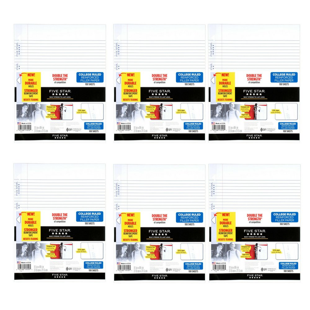 Five Star Loose Leaf Paper, 3 Hole Punched, Reinforced Filler Paper, College Ruled, 11'' x 8-1/2'', 100 Sheets/Pack, 1 Pack (17010) (6 Pack)