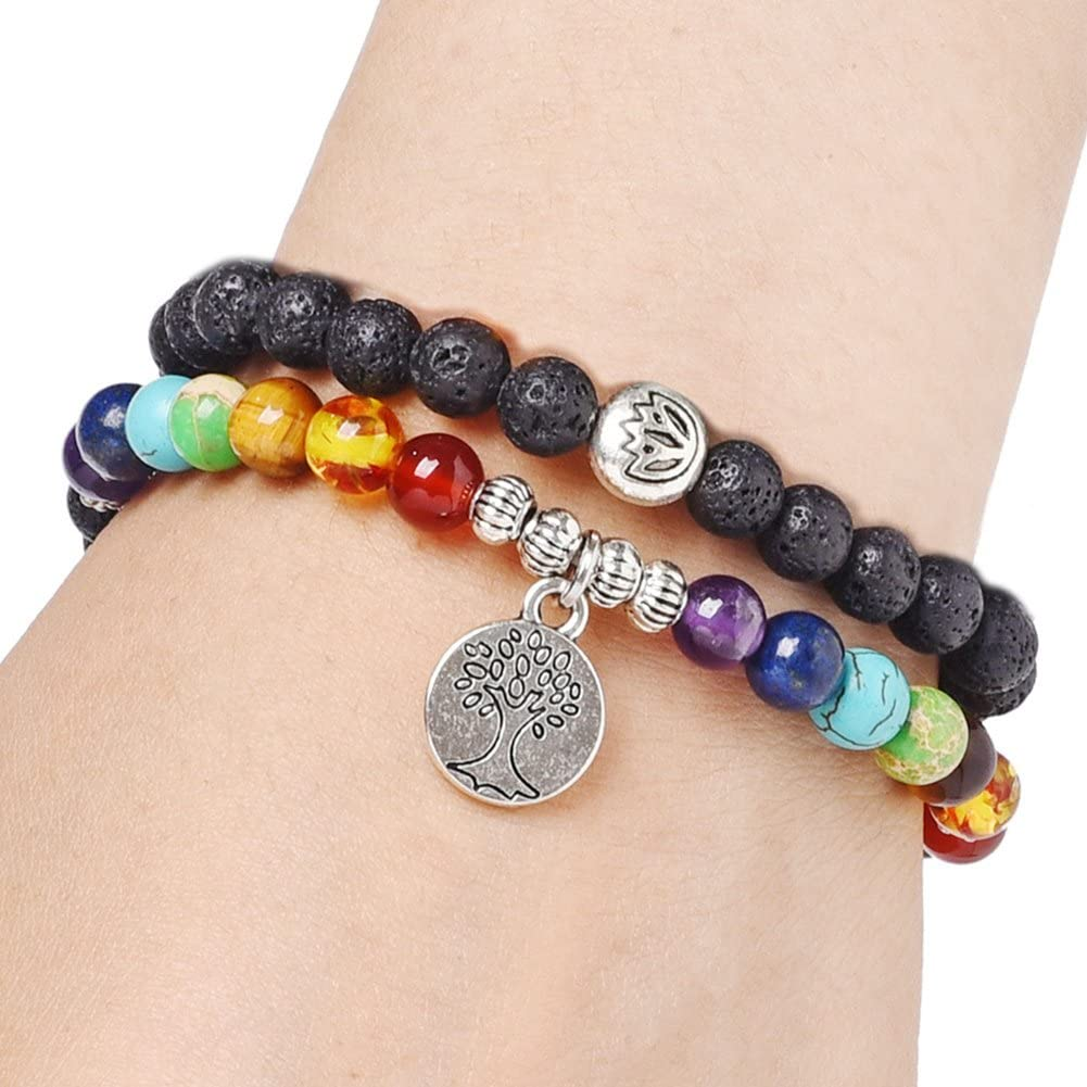 SIVITE 7 Chakra Lava Rock Mala Beads Bracelet Tree of Life Essential Oil Diffuser Healing Energy Bracelet