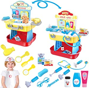 Gifts2U Kids Doctor Kit & Pet Care Play Set, Toy Doctor Set and Vet Pet Pretend Play Toy Two Themes with Carry Case, Medical Role Play Educational Toy Doctor Playset for Girls Boys Ages 3-6