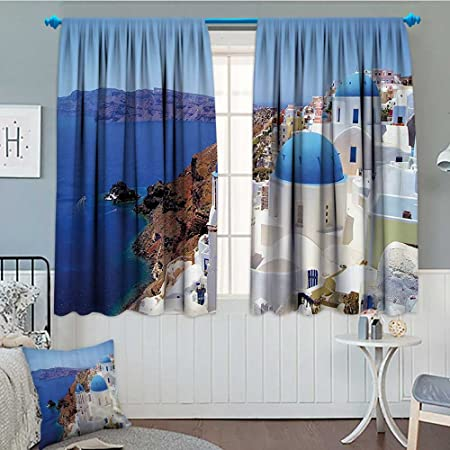 European City Decor Collection Blackout Window Curtain Santorini Greece  Scenery View Picture White Stone Old Houses