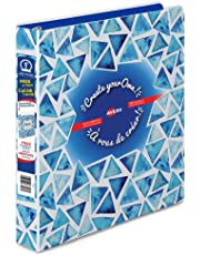 Avery Create Your Own! Durable View Customizable Geometrics 3 Ring Binder, 1 Inch, Round Rings, Blue Triangles Design, 175 Sheet Capacity, PVC Free  (18776)
