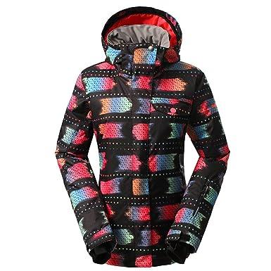 GSOU Snow Women s Waterproof Windproof Colorful Ski Hooded Jacket Outdoor  Rain Coat (Black e46c4935f6d0