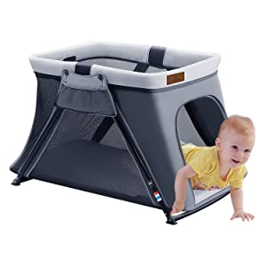 ANGELBLISS 2 in 1 Travel Crib, Lightweight, Pack Play-Yard for Infants & Toddlers. Simple Assembly & Easily Collapsible, Comfortable Mattress & Fitted Sheet Included - Certified Baby Safe (Dark Gray)