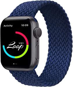 AZKEY Solo Loop Sport Band Compatible with Braided Apple Watch Band 42mm 44mm, Soft Sport Replacement Wrist Band Compatible for iWatch Series 6/5/4/3/2/1/SE Blue No.9 42mm