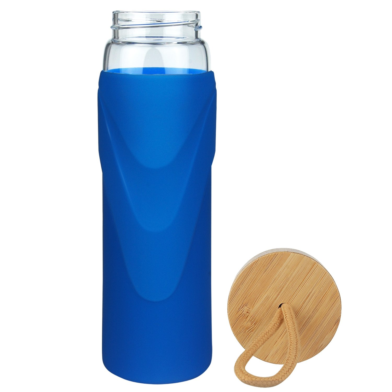 652da0920dc1 Origin - Best WIDEMOUTH BPA-Free Glass Water Bottle with Protective  Silicone Sleeve and Bamboo Lid - Dishwasher Safe (Royal Blue, 32 Ounce)