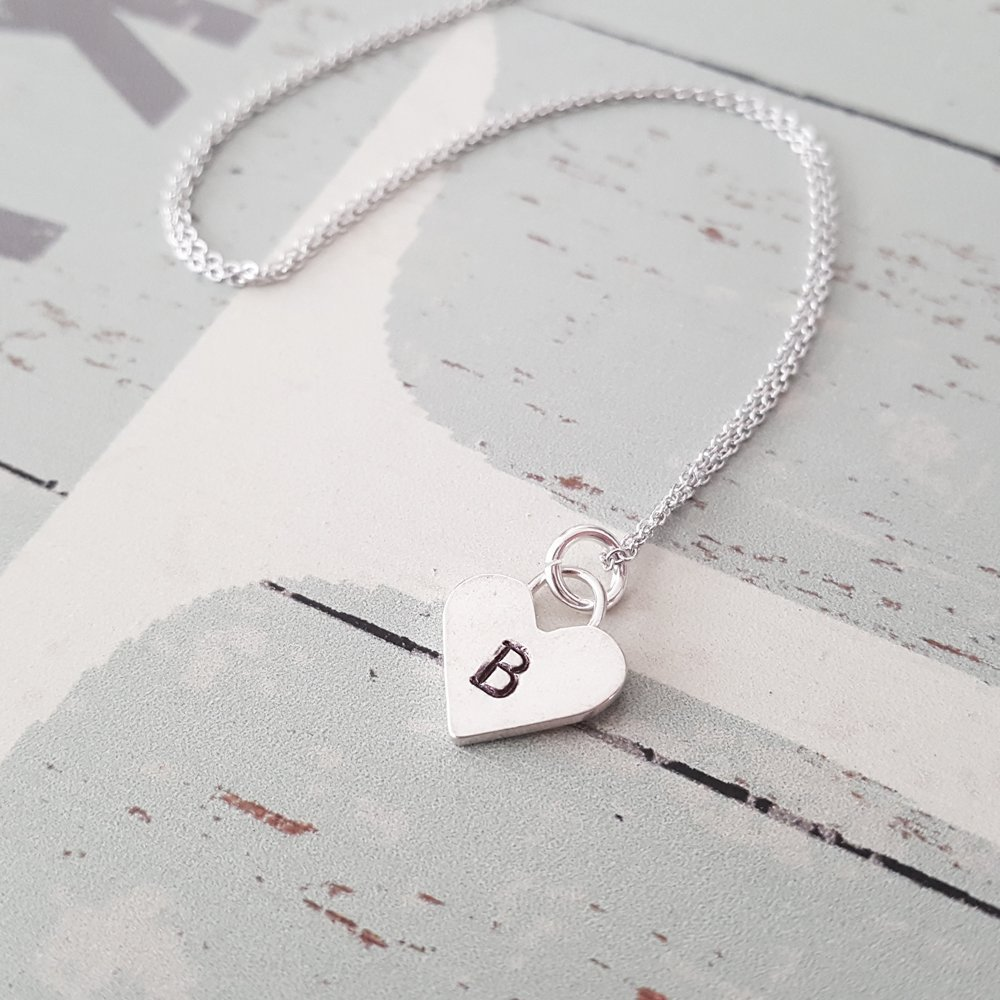 Personalized Sterling Silver Heart Letter
